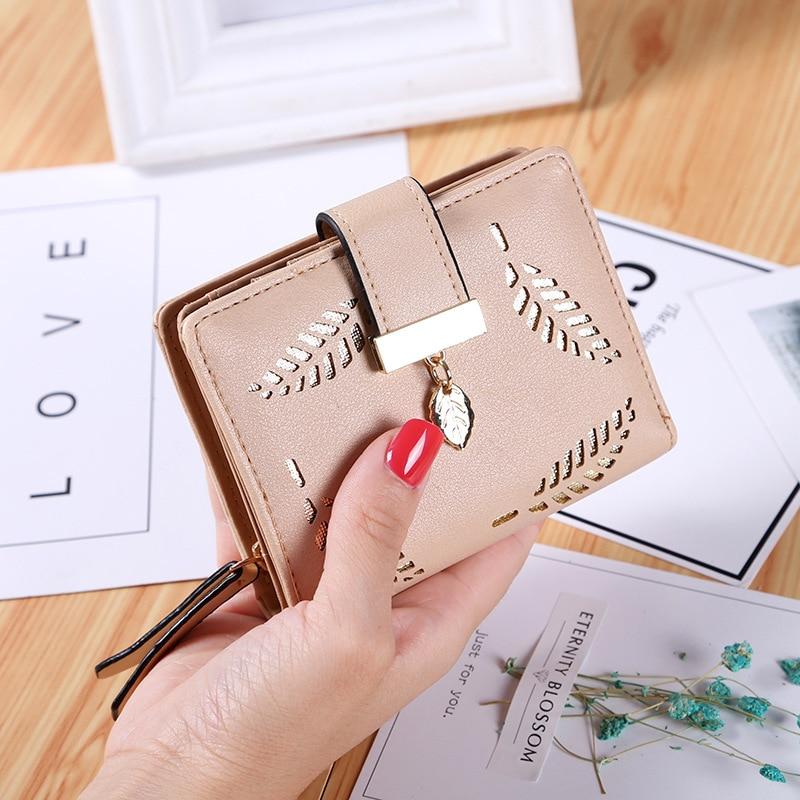 New Women Wallets Short Wallet Ladies Zipper Hollow Leaf Purse Wallet Female Women Zipper Purse Card Holder buckles 018 in Wallets from Luggage Bags