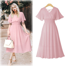 Summer Chiffon Dress 2019 Pleated Beach Dress Fashion Short Sleeve V-neck Back Tied A-line Party Dress Sundress Vestidos цена 2017