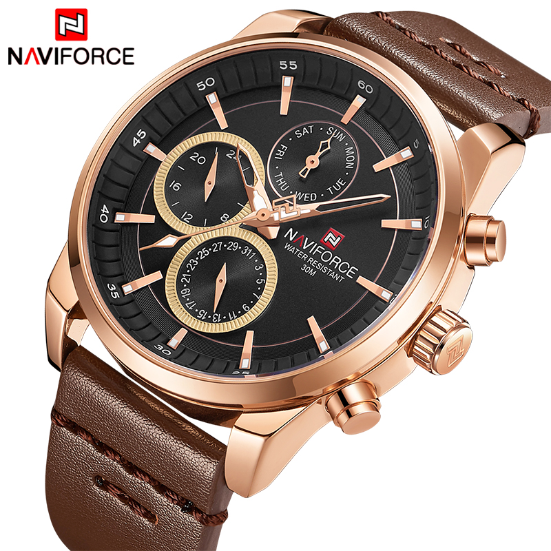 NAVIFORCE Top Luxury Brand Watches Men Fashion Casual Quartz 24 Hours Date Watch Man Leather Waterproof