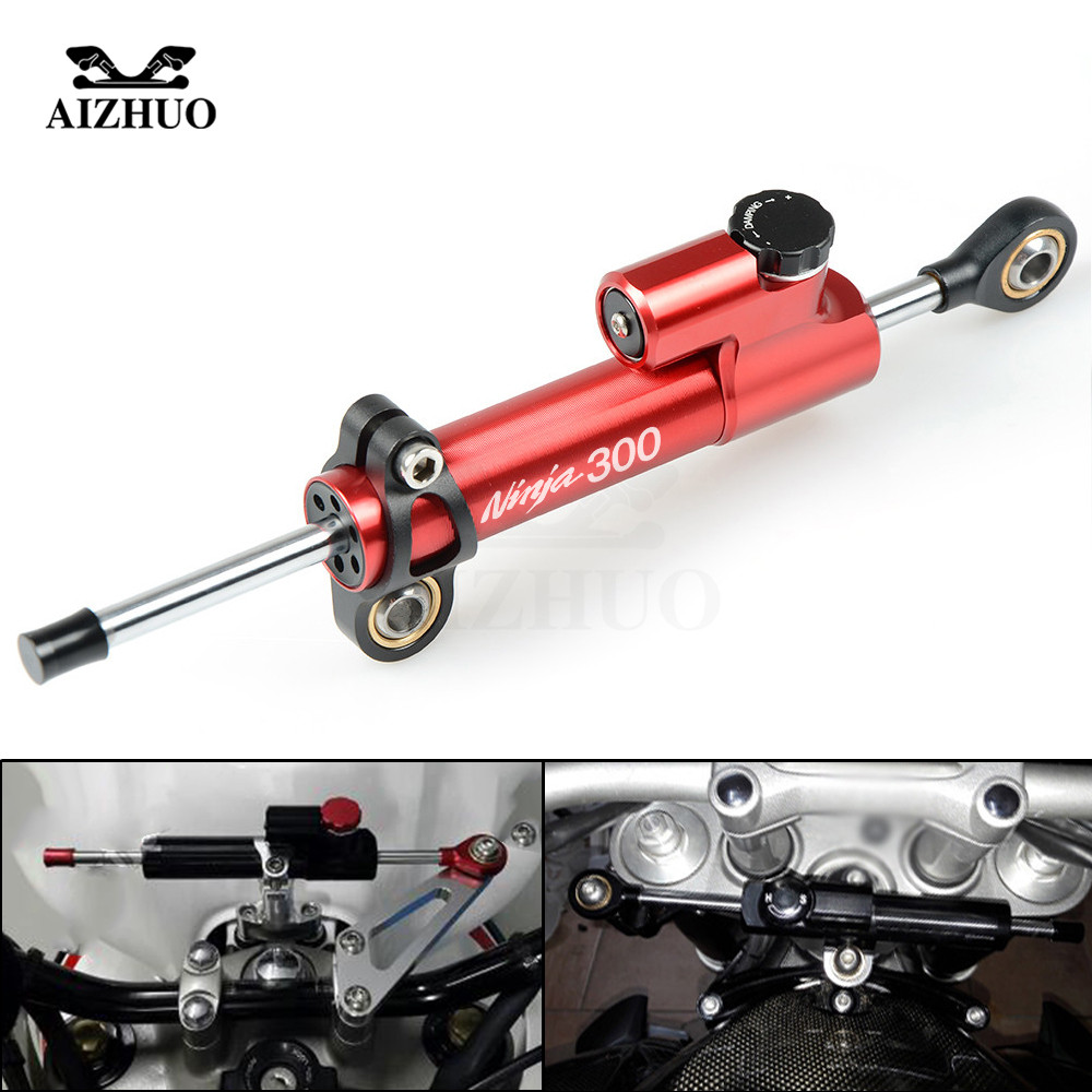 CNC Aluminum NINJA300 LOGO Motorcycle Damper Steering Stabilize Safety Control For KAWASAKI NINJA 300 NINJA300 2013 14 15 2016 custom designed repsol fairings for kawasaki ninja300 2013 with free shipping