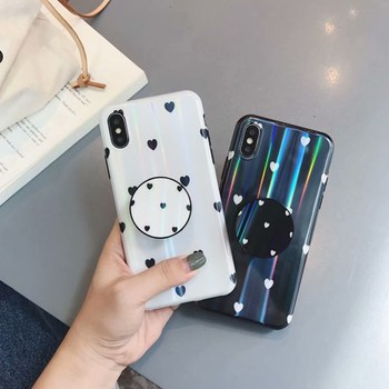 Painted love Fitted Phone Case for Iphone X 6 6S Iphone 7 8 Plus Back Cover Soft TPU Case Stand Air Bag Holder Coque Funda