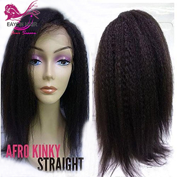EAYON Brazilian Kinky Straight Lace Front Wigs Human Hair For Women 130% Density 13X6 Natural Black With Baby Hair Remy