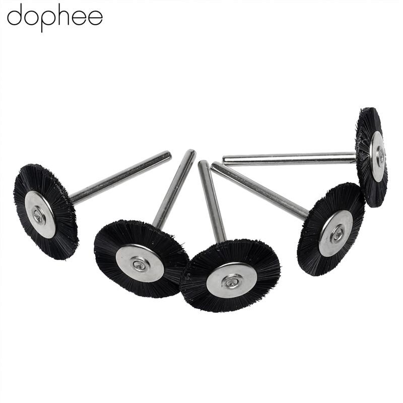 Dophee 5PCS Dremel Accessories 3MM Shank Flat Nylon Bristle Wheels Brush Buffing Polishing Brush Wheel For Dremel Rotary Tools