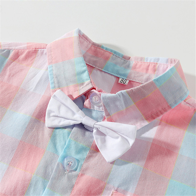 Boy's Short Sleeve Shirt with Bow and Overalls Set