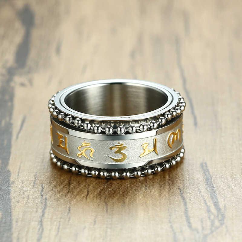 11mm OM Mani Padme Hum SPINNER แหวนสำหรับชายสไตล์พระพุทธศาสนาสแตนเลส PARTY ศาสนาเครื่องประดับ