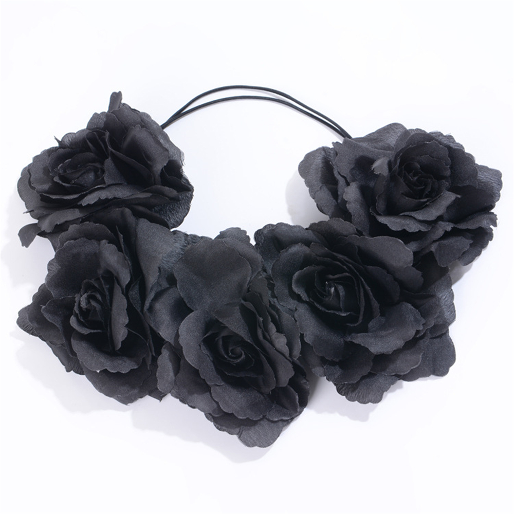 Mystic Black Floral Headbands Huge Rose Flower Crown Headwear Women
