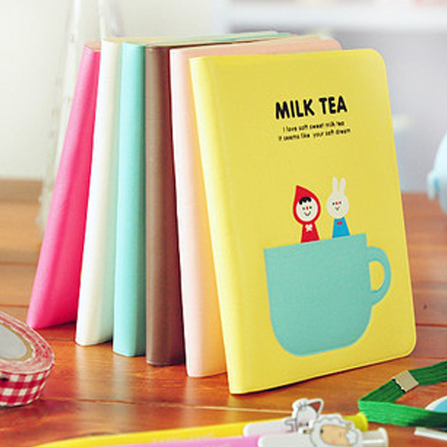 1pc Kawaii Milk Tea Time Print Cover Color Page Mini Notebook Diary Notepad Travel Book