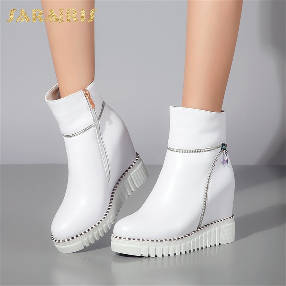 SARAIRIS 2018 Cow Leather wholesale dropship Zip Up Ankle Boots Woman Shoes Increasing Heels Add Fur Winter Boots Female Shoes sarairis new plus size 32 43 sequin add fur winter boots woman new fashion dropship zip up ankle boots woman shoes woman