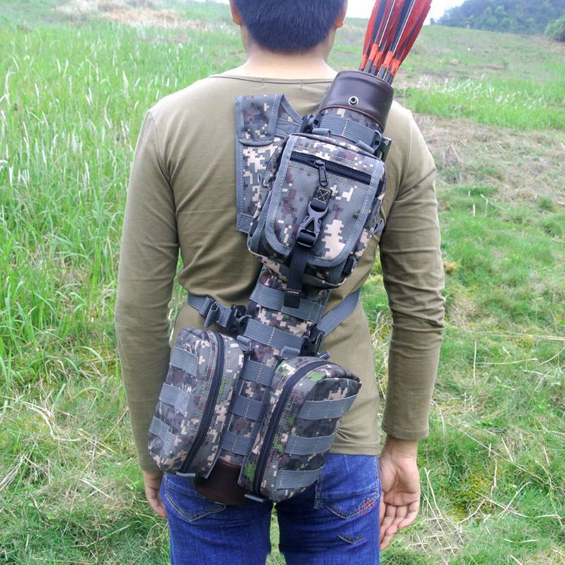 Tactical Whole True Leather Arrow Quiver with Molle System Bag for Bow Hunting 3 Colors dmar archery quiver recurve bow bag arrow holder black high class portable hunting achery accessories