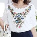 Diamante Impressão de Algodão solto Camisa Das Mulheres T Verão Novo Branco Casual T-shirt Da Marca Plus Size Moda Manga Curta Tops Tees