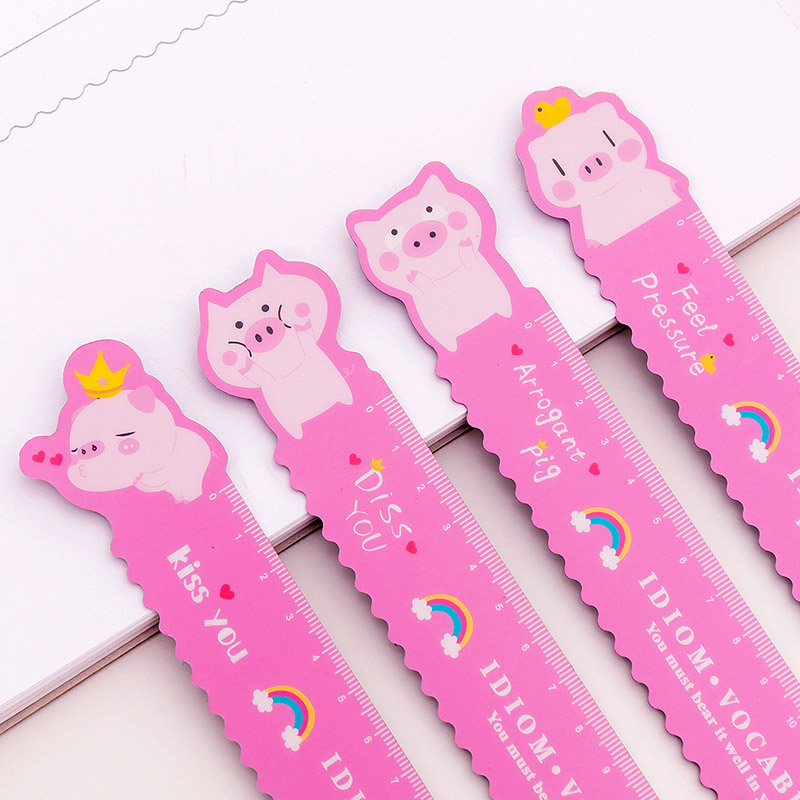 1Pc Cute Pink Pig Ruler Kawaii Unicorn Bendable Straight Ruler For Kids Girls Gifts School Office Supplies Measure Stationery