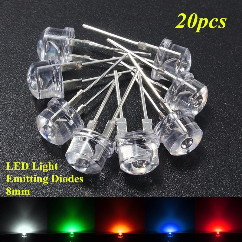 8mm Straw Hat Led: Wholesale Price 20pcs 8mm Straw Hat LED Water Clear Light