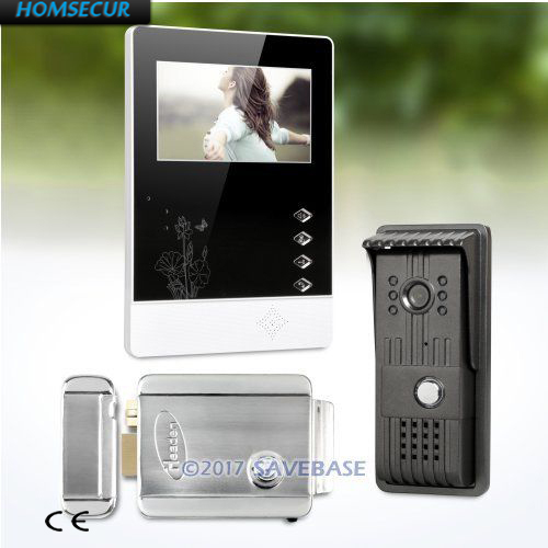 HOMSECUR 4.3inch Video Door Entry Phone Call System With IR Night Vision For House/ Flat 1V1+Electric Lock