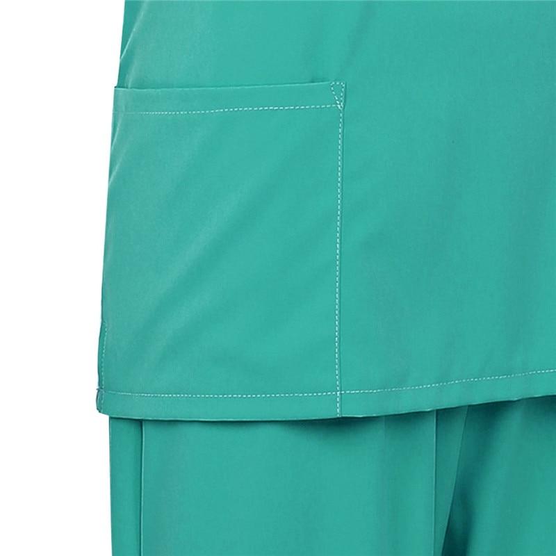 Image 5 - Adultes hommes médecin Scrubs soins infirmiers uniformes Costumes manches courtes haut et élastique taille longue pantalons unisexe laboratoire infirmière Costumes 2 piècesInfirmière Uniforme   -