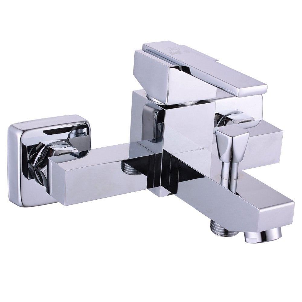 Livraison gratuite robinet de douche carré de salle de bains avec robinet de douche mural double trou ou mitigeur de baignoire