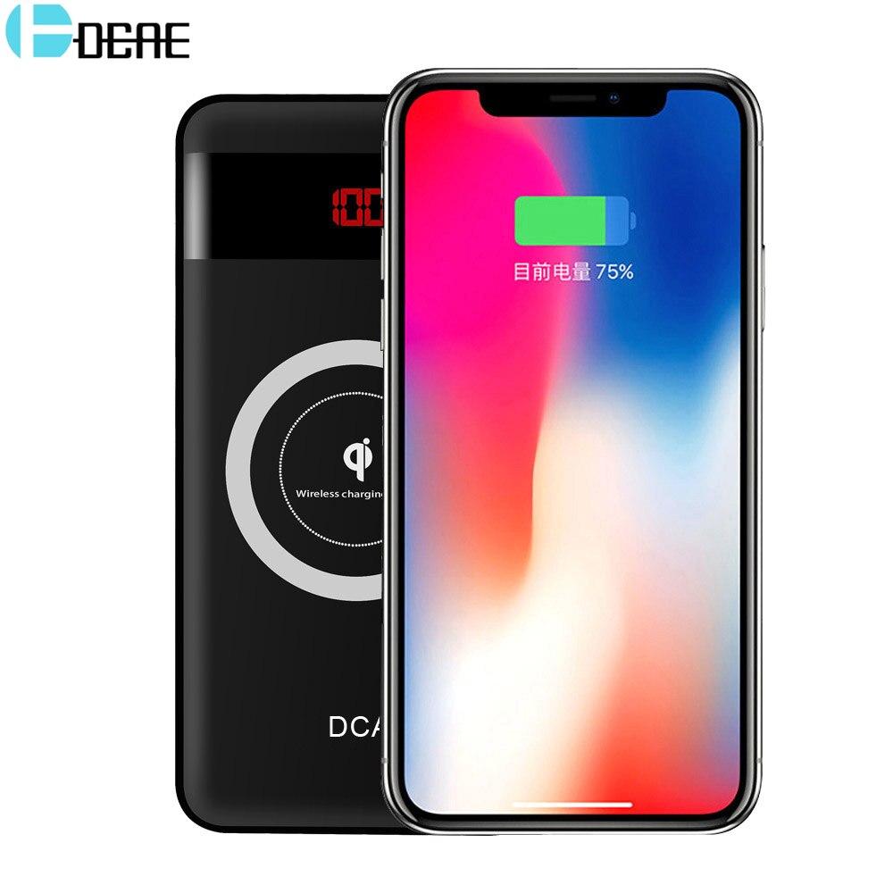 DCAE 10000 mAh Power Bank cargador inalámbrico Qi para el iPhone X 8 USB Dual teléfono móvil batería externa para Xiaomi samsung Powerbank