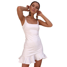 ef667949f4 Sexy Trompete Vestido De Babados 2018 Verão Mini Bodycon Vestido Mulheres  Vestidos Cinta de Espaguete Vestidos Femme Feminino Pr..