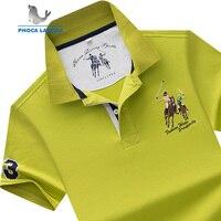 Для Мужчин's брендовая рубашка-поло хлопок короткий рукав Camisas одноцветное вышивка поло Лето Стенд воротник Мужское поло рубашка плюс разме...