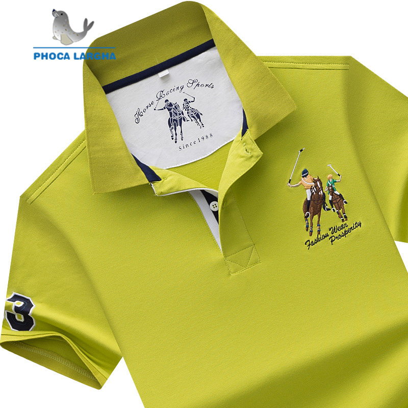 Camisa polo masculina marca algodão manga curta camisas sólido bordado polo verão gola masculina polo camisa plus size s-7xl