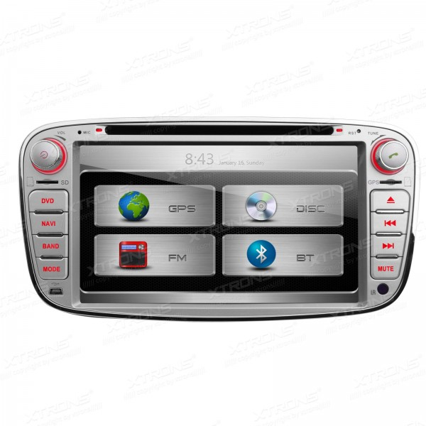 XTRONS 7 Inch Silver 2 din car audio dvd automotivo HD Touch Screen DVD Player with GPS Navigation CANbus for Ford image