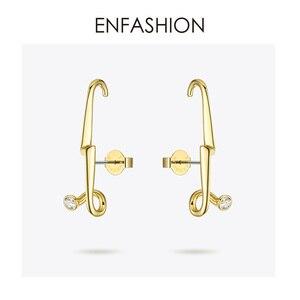 Image 3 - ENFASHION 번개 스터드 귀걸이 여성을위한 골드 컬러 펑크 기하학 미니멀리스트 크리스탈 귀걸이 패션 주얼리 Kolczyki EC1040