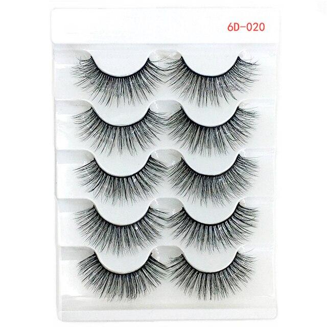 5 Pairs 6D Faux Mink Hair False Eyelashes Natural Long Wispies Lashes Handmade Cruelty-free Criss-cross Eyelashes Makeup Tools 3
