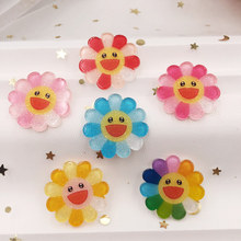 New 26mm Lovely Smile Colorful Glitter sunflower Flat back Acrylic sheet  Miniature pattern applique DIY Wedding scrapbook craft