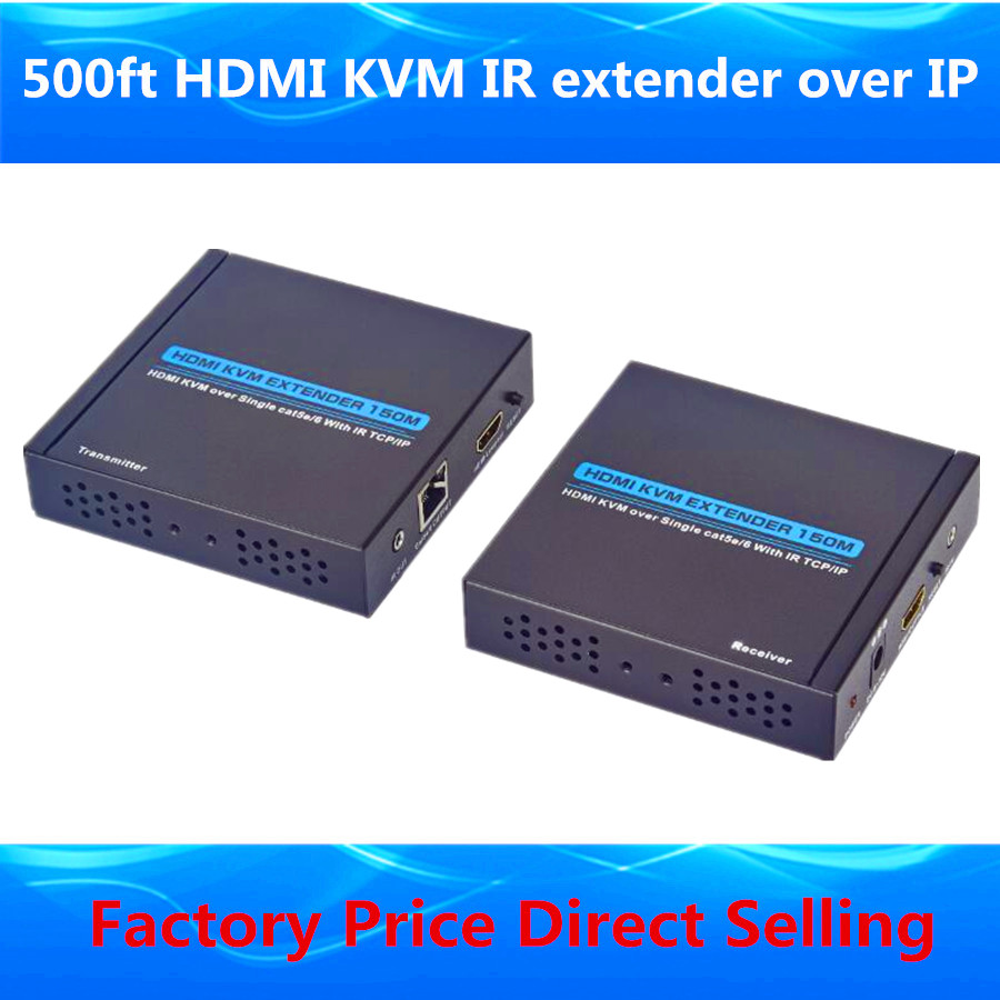 KVM HDMI USB Keyboard Mouse Extender 500ft Over TCP IP HDMI KVM Extender By Ethernet Network Cat5/5e/6 Cable With IR & Loop Out hdv e100 dc 5v 12v 120m hdmi extender cat 5e 6 with ir and tcp ip us uk eu plug