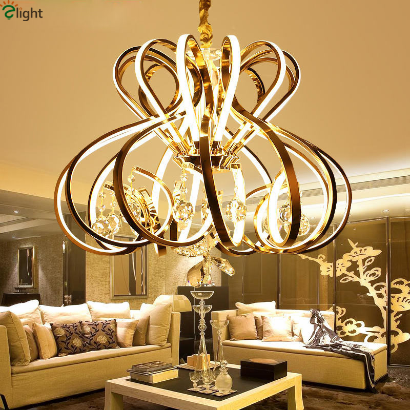 Modern Dimmable Curved Luxury Gold/Chrome Led Pendant Light Eelctroplate Aluminium Soft Acrylic Lustre Cristal Led Hanging Lamp