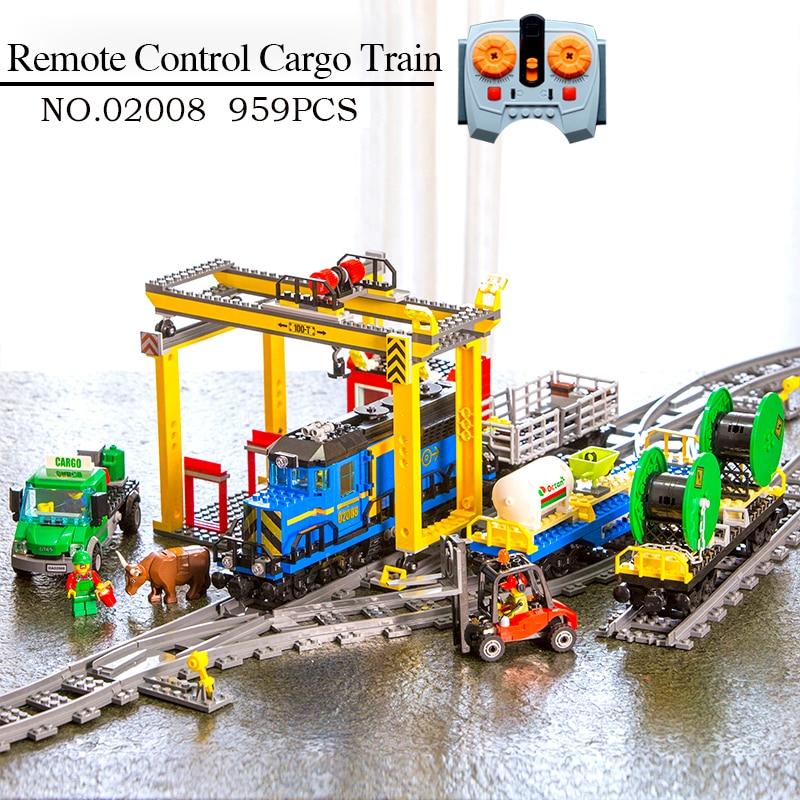 In Stock 02008 02009 02117City Series Remote Control Cargo Train Set Building Blocks Bricks 60052 Children Educational Toys Gift