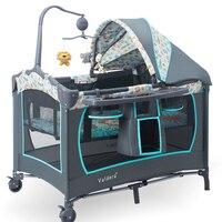 Valdera 0 6 years sleep bed Multifunction Portable Folding Baby Crib Playpen Folding Carrycot Baby Bed 6 free gifts babyfond
