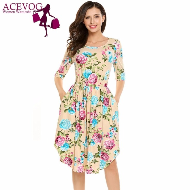 ACEVOG Vintage Dress Women Elegant Floral Print Short Sleeve Elastic Waist  A-Line Pleated Cocktail Party A-line Dresses Robe 90d8bea18