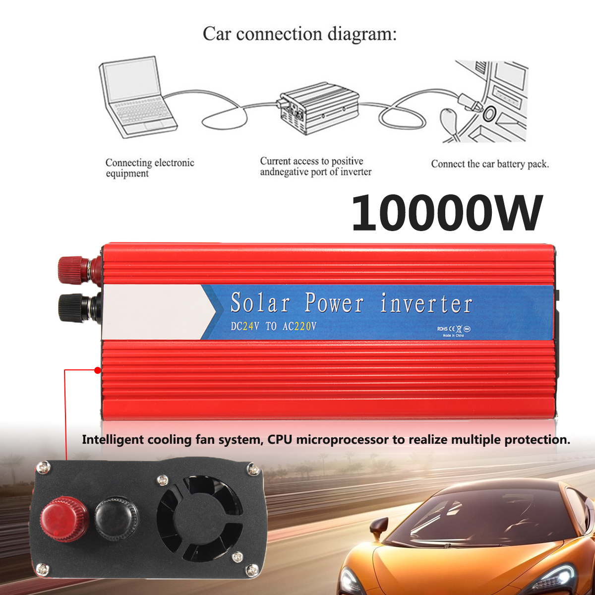 Red Car Power Inverter Converter PEAK 10000W 12/24V To AC 220/110V USB Modified Sine Wave Voltage Transformer Universal 12 24v to ac 220 110v car power inverter converter peak 10000w usb modified sine wave voltage transformer universal intelligent