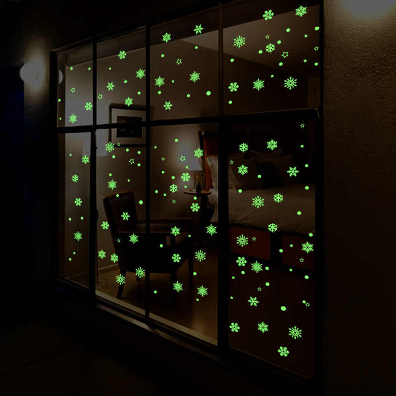 Luminous Snowflake Glow In The Dark Window Stickers Christmas Deals Winter Decorations Removable Happy New Year Sticker