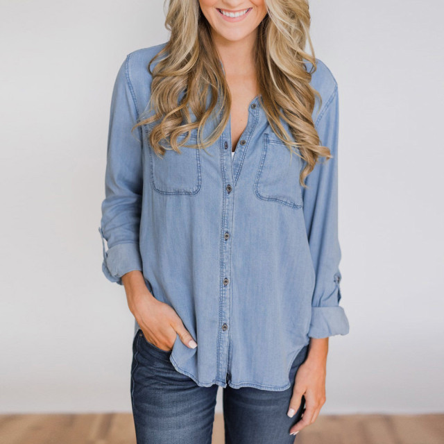 Новые модные женские синие джинсовая пуговица блузка повседневное нагрудные блузка с длинными рукавами куртка дамы уличная одежда футболки Kraagje Nep Dames