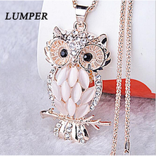 LUMPER Vintage Owl Design Rhinestones Crystal Pendant Necklaces Women Sweater Chain Necklace Jewelry Clothing Accessories