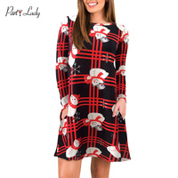 Party Lady 2018 Autumn Christmas Dress Women Straight Casual Printed Plaid Snowman Tree Long Sleeve Winter Dress For Ladies C