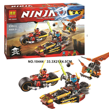 10444 Ninja Ninjago Bike Chase Building Blocks Set Kai Nya Sqiffy Blockset Assembling Toy Compatible with Legoings 70600