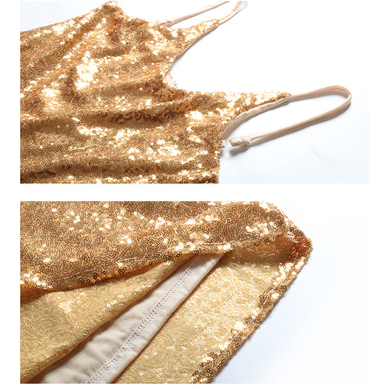 Summer Sexy Sling Tops Solid Color Slim Fit V neck Gold Sleeveless Sequined Tank Tops Women AN1002 in Tank Tops from Women 39 s Clothing