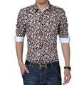2015 мужская мода рубашки мужчин Печати цветочные рубашки Осень-Весна мужская рубашка с длинными рукавами Рубашки мужчины 3 цвет плюс размер 5XL S-M106