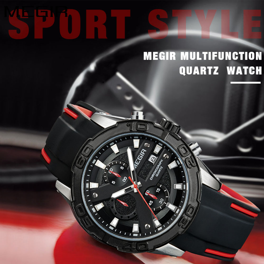 MEGIR New Men Fashion Luxury Chronograph Sport Watch Men Quartz Watches Man Silicone Strap C Wristwatch reloj hombre-2055 цены онлайн