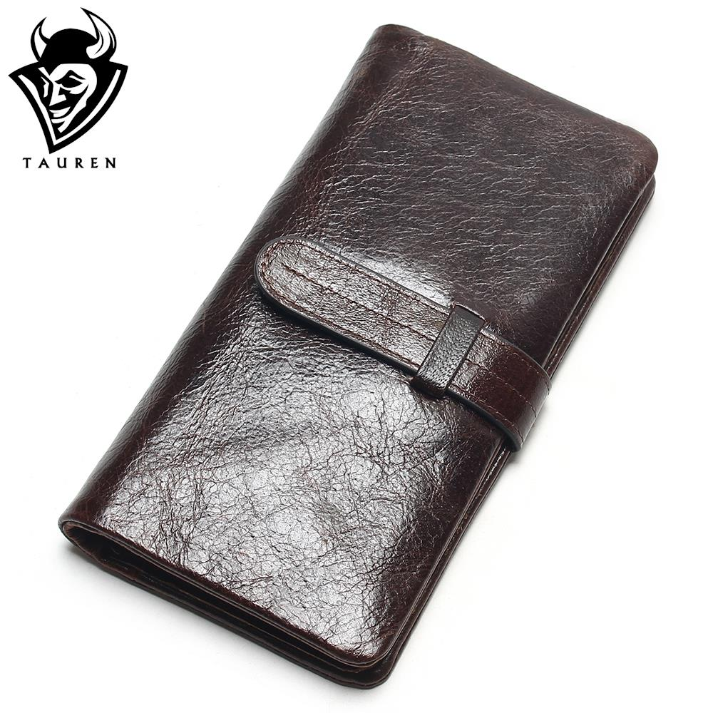Luxury Brand High Quality 100% Top Genuine Oil Wax Cowhide Leather Women Long Bifold Wallet Purse Vintage Designer Male Carteira vintage designer 100