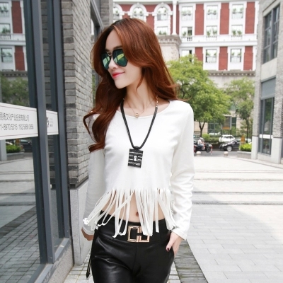 14717ab1e2 Fringed T-shirts Women New Fall Fashion Street Style Trend Personality  Round Neck Long-