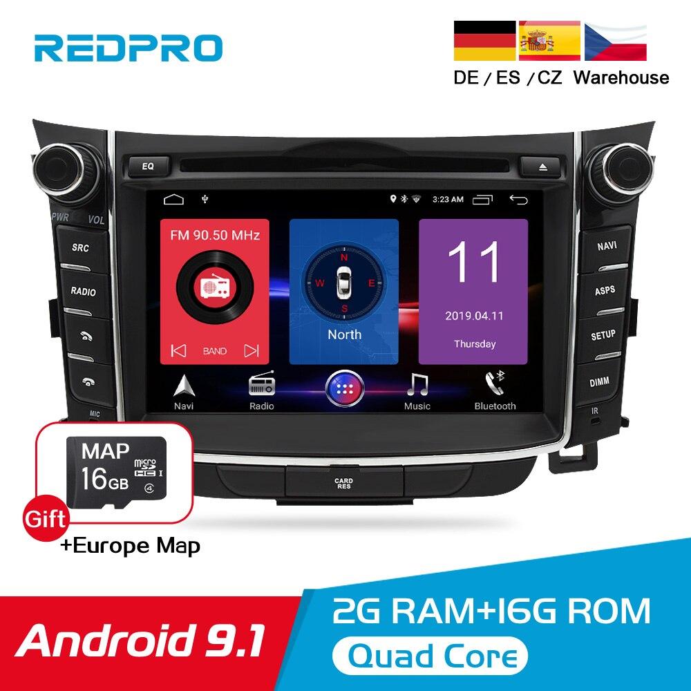 Lecteur Radio DVD de voiture Android 8.0 IPS pour Hyundai i30 Elantra GT 2012-2016 Auto Audio vidéo WIFI GPS Navigation stéréo multimédia