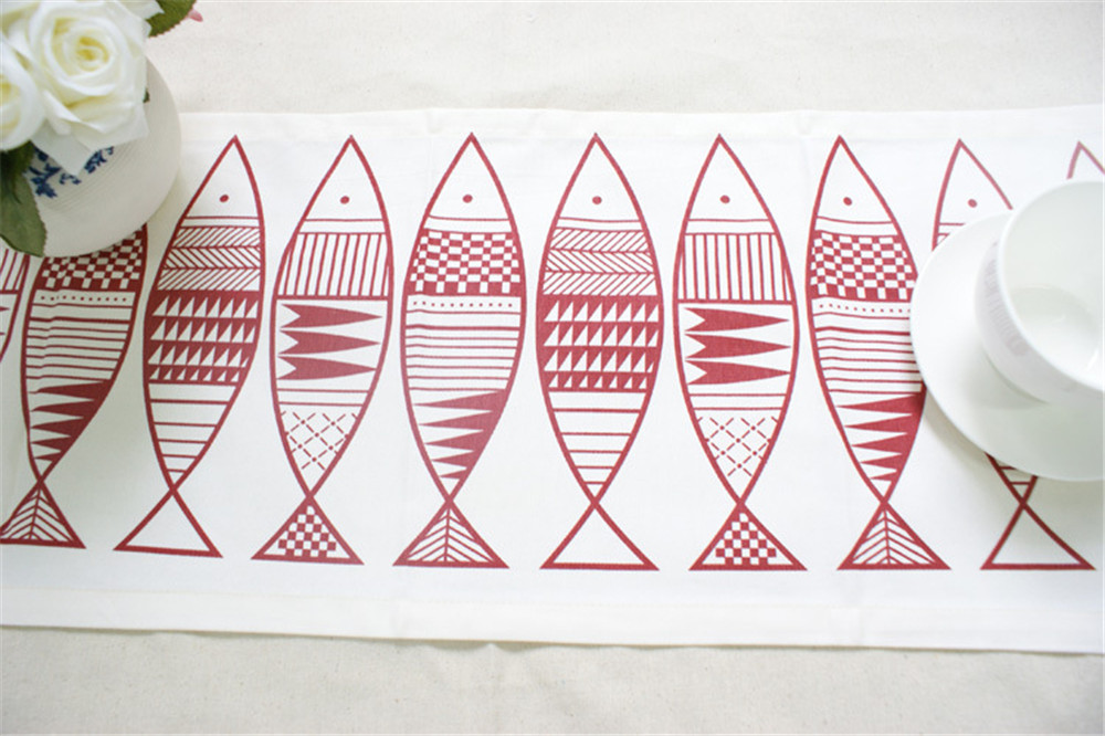 European Fish Print Table Runner Flag Cotton Modern Solid Rectangular Tea Table Cover Tablecloth for Wedding Party Home Decor in Table Runners from Home Garden