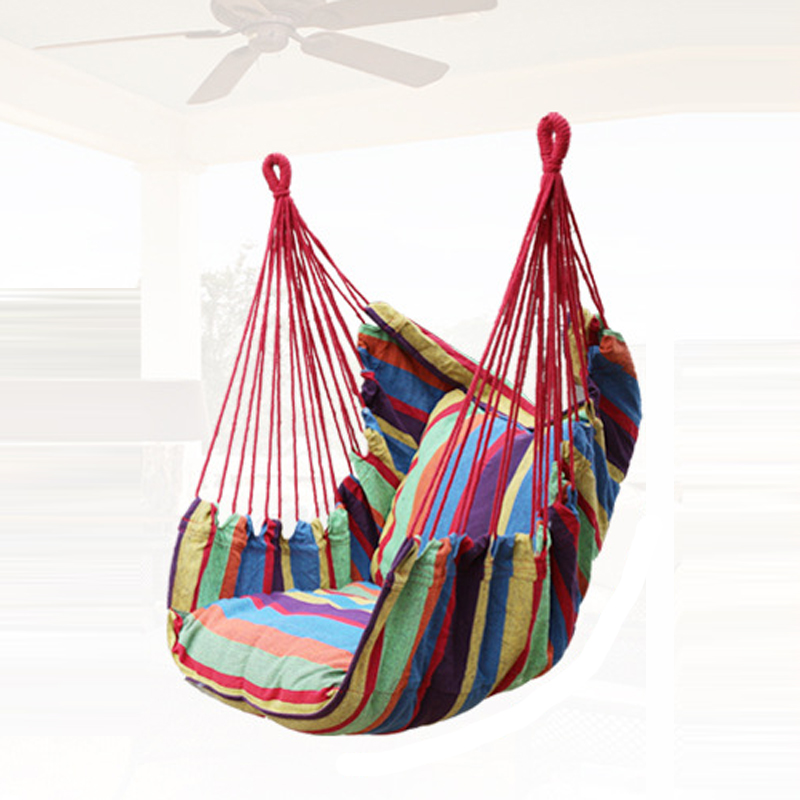YX Newest Canvas Hammock Adult Indoor Swing Cradle Outdoor Handing Chair Children Hammock Tourism with Cushion Bearing 120KG