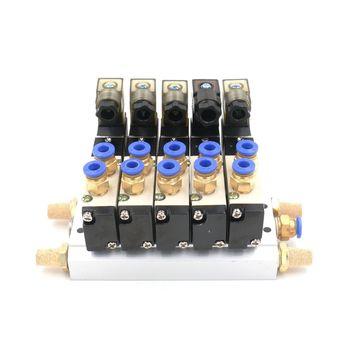4V110-06 DC 24V 6mm PT1/8 2 Position 5 Way Solenoid Valve Connected Base Muffler