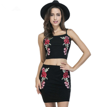 2017 New Summer Style Women Sexy Two Piece Outfits Black Embroidery Cami Crop Top and Pencil Skirt 2 Piece Set 1485