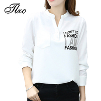 TLZC Women Casual Chiffon Blouses White Size S XXL Letter Pattern Lady Fashion Shirts Office Tops