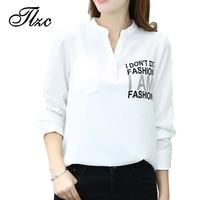 TLZC Femmes Blancs Chemises En Mousseline de Soie Blouses Taille S-XXL Lettre Motif Lady Casual Mode Chemise Bureau Tops À Manches Longues